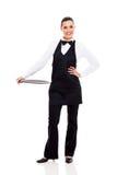 Waitress empty tray Royalty Free Stock Photography