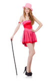 Pretty young wizard in mini pink dress isolated on Stock Photos
