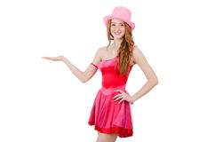 Pretty young wizard in mini pink dress isolated on Royalty Free Stock Photo