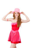 Pretty young wizard in mini pink dress isolated on Royalty Free Stock Photos