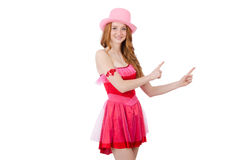 Pretty young wizard in mini pink dress isolated on Royalty Free Stock Image