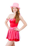 The pretty young wizard in mini pink dress Royalty Free Stock Photos