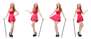 The pretty young wizard in mini pink dress isolated on white Stock Photography