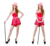 The pretty young wizard in mini pink dress isolated on white Royalty Free Stock Photo