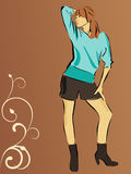 Pretty young woman. Vector illustration of a beautiful young woman Stock Photo