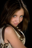 Pretty young woman. Pretty shy young woman hiding smile Royalty Free Stock Photo