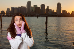 Pretty Young Woman along the Bay with Skyline Stock Photo