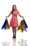 Pretty young woman with bags of purchases Royalty Free Stock Photo