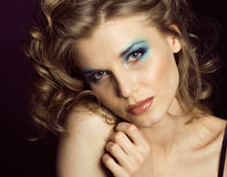 Pretty young woman with beauty make up close up Royalty Free Stock Image