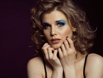 Pretty young woman with beauty make up close up Royalty Free Stock Photos