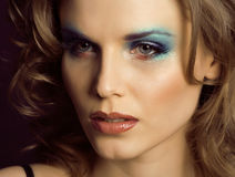 Pretty young woman with beauty make up close up Royalty Free Stock Photo