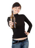 Pretty young woman with beer Stock Photo