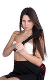Pretty young woman with big machete Royalty Free Stock Photography