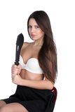 Pretty young woman with big machete Royalty Free Stock Image