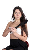 Pretty young woman with big machete Stock Images