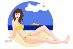 Pretty young woman in  bikini on the beach. A pretty young woman in a bikini on the beach Stock Photo