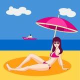 Pretty young woman in  bikini on the beach. Pretty young woman in a bikini on the beach Stock Images