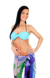 Pretty young woman in bikini and pareo. Royalty Free Stock Image