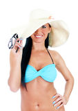 Pretty young woman in bikini and straw hat. Stock Photo
