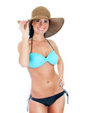 Pretty young woman in bikini and straw hat. Stock Photos