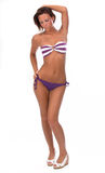 Pretty young woman in bikini, on white. royalty free stock images