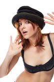 Pretty young woman with black bonnet Royalty Free Stock Images