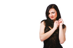 Pretty young woman in black dress. Picture of pretty young woman in black dress on white background Stock Photos