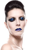 Pretty Young Woman in Blue Eye Shadow Makeup Stock Image
