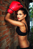 Pretty young woman in boxing gloves Stock Image