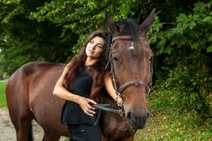 Pretty young woman and a brown horse Royalty Free Stock Photography
