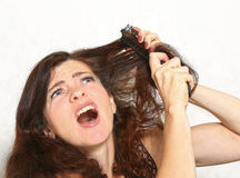 Pretty young woman with brush comb stuck in hair Royalty Free Stock Photos