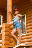 Pretty young woman builder Stock Photos