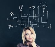 Pretty Young Woman on Business Arrows and Light Bulb Icon. On Blackboard Background Royalty Free Stock Images