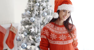 Pretty young woman celebrating Christmas at home Stock Photography