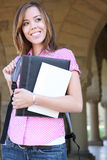 Pretty Young Woman on College Campus Stock Photography