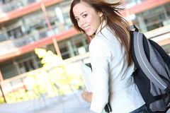 Pretty Young Woman on College Campus Stock Image
