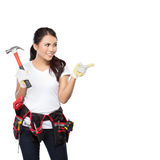 Pretty young woman construction worker Royalty Free Stock Images