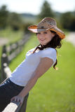 Pretty Young Woman with Corgirl Hat Outdoor Stock Photo