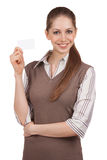 Young woman with credit card in hand Royalty Free Stock Image