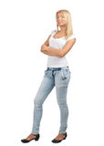 Pretty young woman with crossed arms Royalty Free Stock Photos