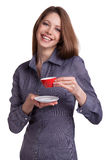 Pretty young woman with cup of coffee Stock Photography