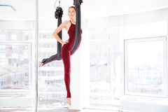 Pretty young woman doing antigravity yoga exercises in studio Stock Image