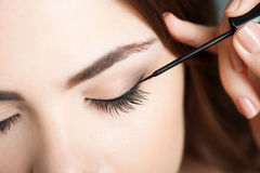 Pretty young woman is doing her make-up Royalty Free Stock Image