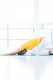 Pretty young woman doing YOGA exercise. At home Royalty Free Stock Photo