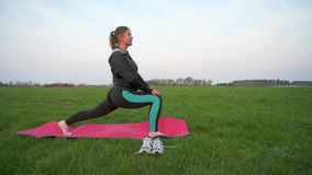 Pretty young woman doing training outdoors. Pretty young woman doing yoga or fitness training outdoors on the green grass stock video