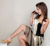 Pretty Young Woman in Dress and Heels Royalty Free Stock Images