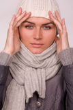Pretty young woman dressed winter style clothes Royalty Free Stock Photo