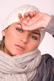 Pretty young woman dressed winter style clothes Stock Image