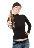 Pretty young woman drinking beer Royalty Free Stock Photo