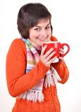 Pretty young woman drinking hot tea Royalty Free Stock Images